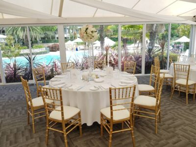 Gold Tiffany chair hire perth