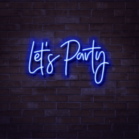 let's party neon sign hire
